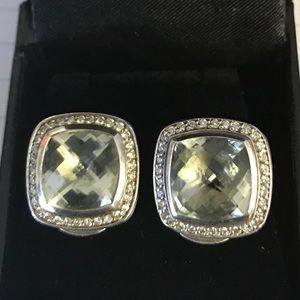 David Yurman Clip on Prasiolite &Diamond Earrings